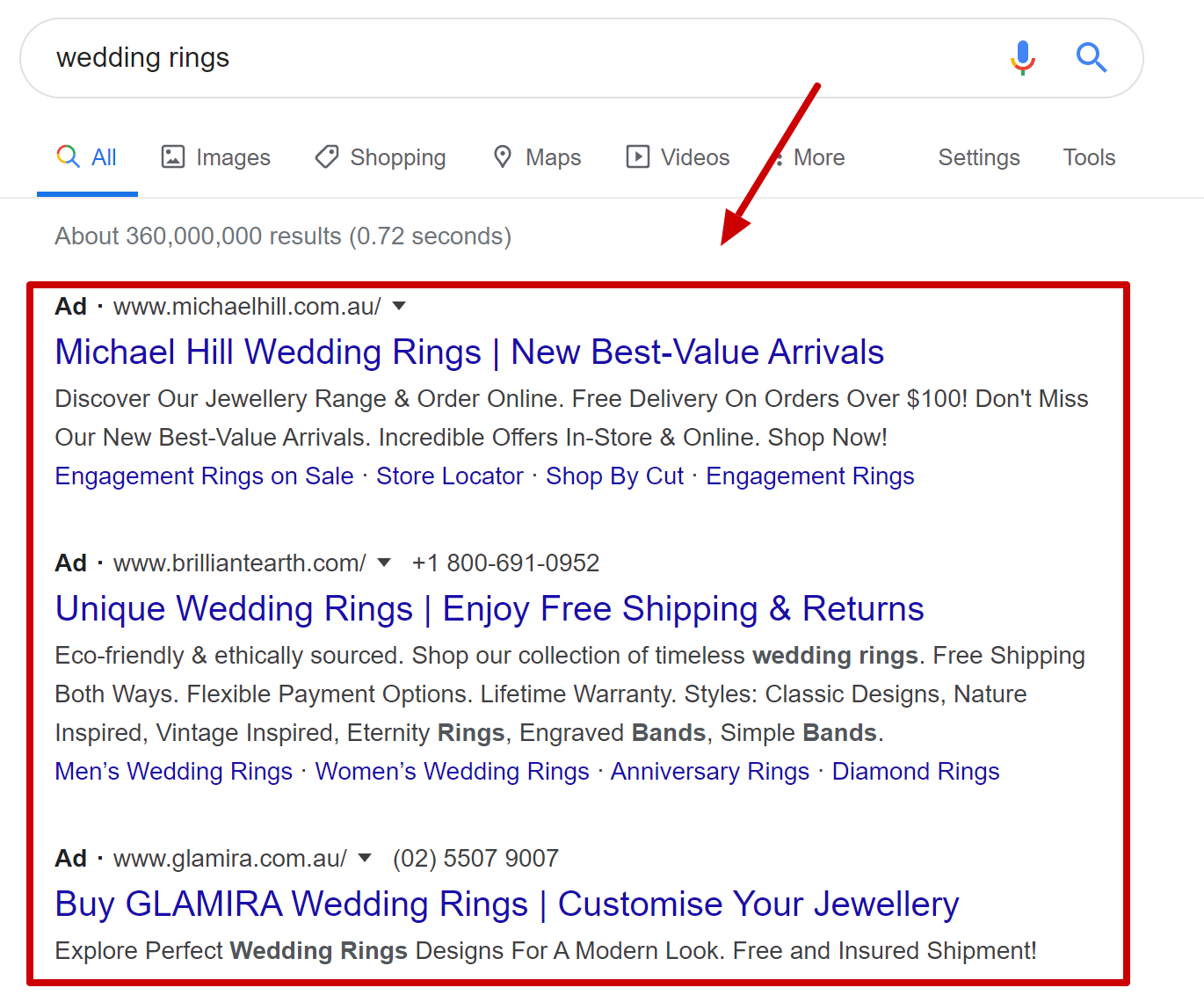 google-text-ads-example-wedding-ring