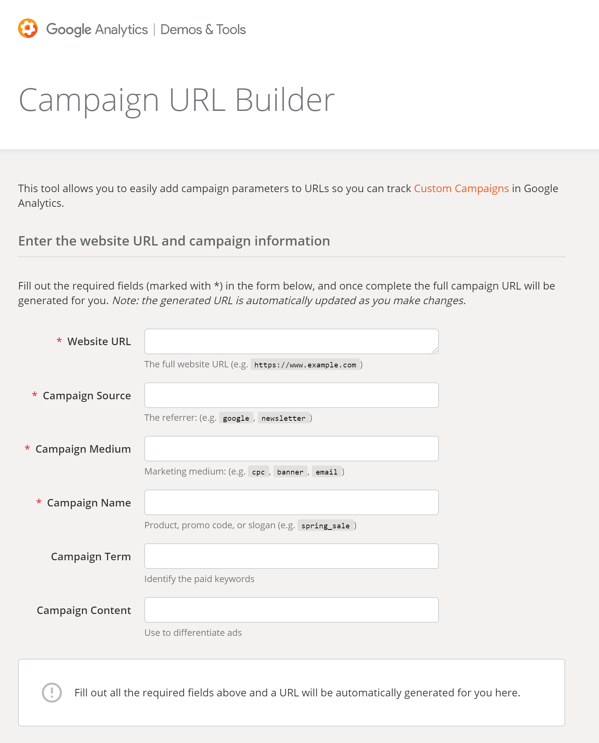 Campaign URL Builder — Google Analytics Demos   Tools