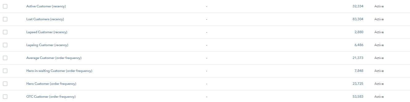 Screenshot of the List management within HubSpot
